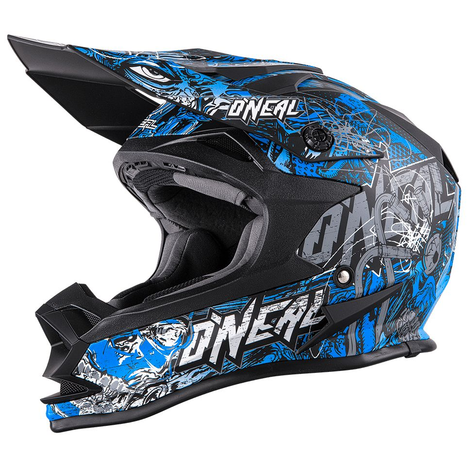 Casque Cross O'neal Series 7 Evo Menace - Bleu Blanc -