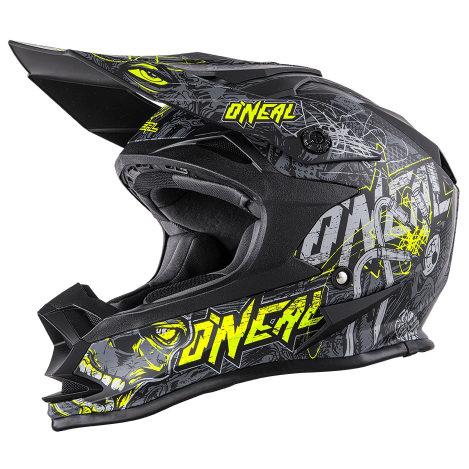 Casque Cross O'neal Series 7 Evo Menace - Gris Jaune Fluo -