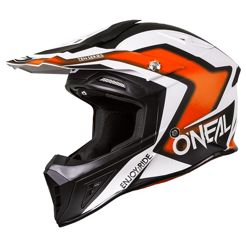 Casque Cross O'neal 10 Series Flow-drez - Orange Blanc -