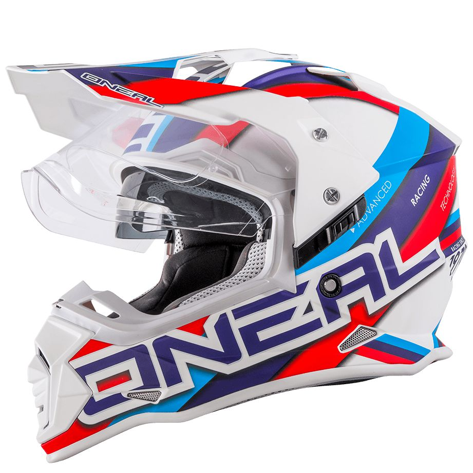 Casque Cross Oneal Sierra Ii Circuit White Blue Glossy Casque