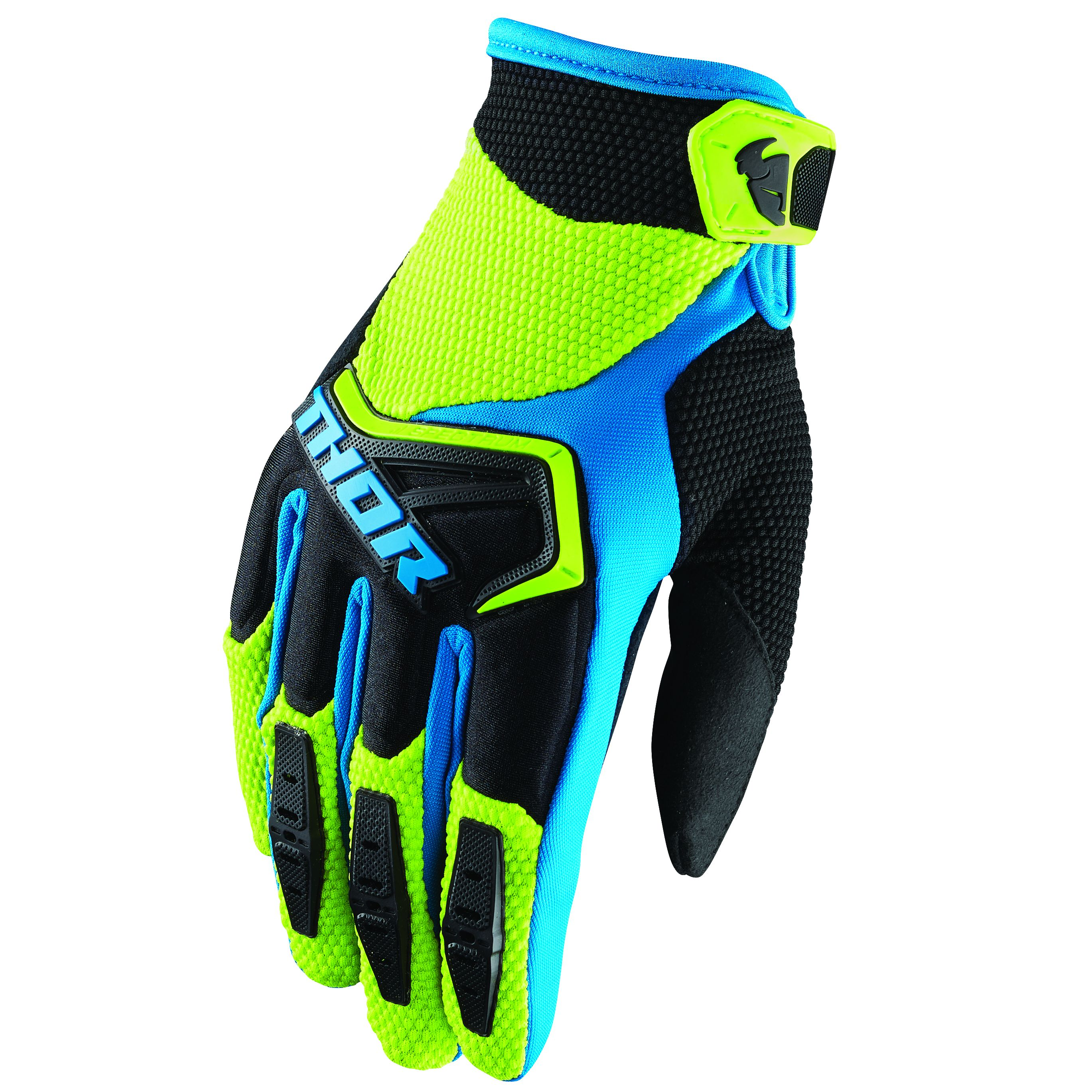 Gants cross Thor SPECTRUM GREEN BLACK BLUE 2019