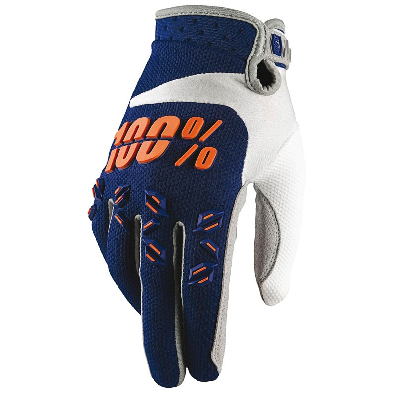 Gants Cross 100% Airmatic - Bleu Marine Orange -