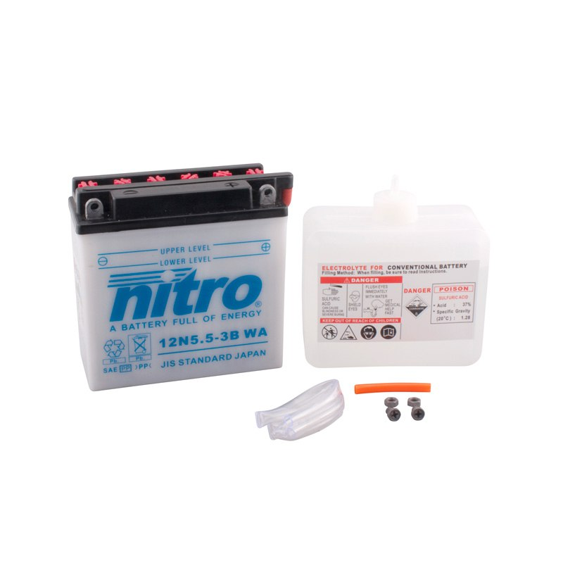 Batterie Nitro 12n5.5-3b Ouvert Avec Pack Acide Type Acide