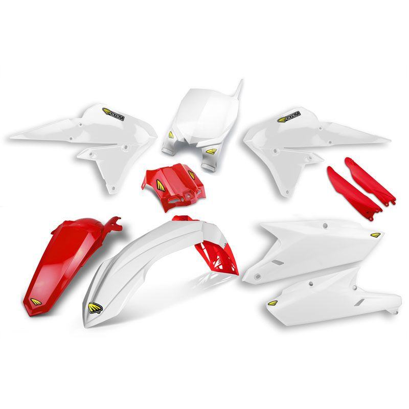 kit plastiques cycra powerflow blanc rouge partie cycle moto cross. Black Bedroom Furniture Sets. Home Design Ideas