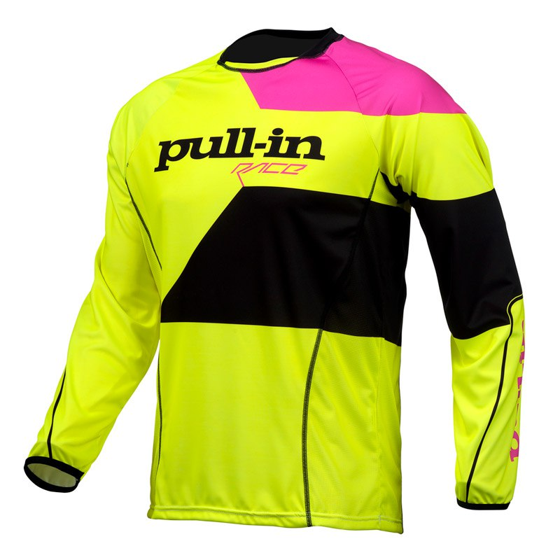 Maillot Cross Pull-in Fighter Jaune Fluo Rose Fluo