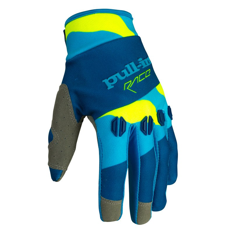 Gants Cross Pull-in Fighter Camo Bleu Jaune Fluo