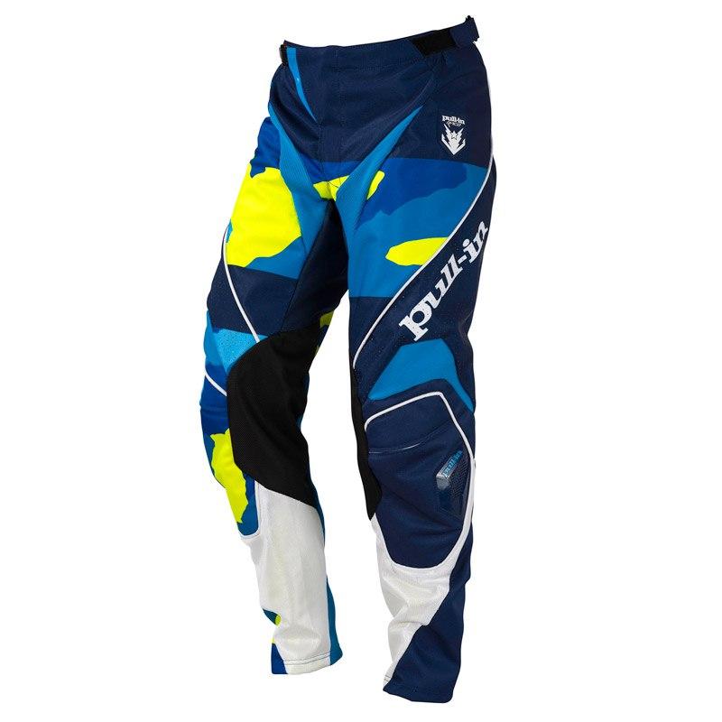 Pantalon Cross Pull-in Fighter Camo Bleu Jaune Fluo