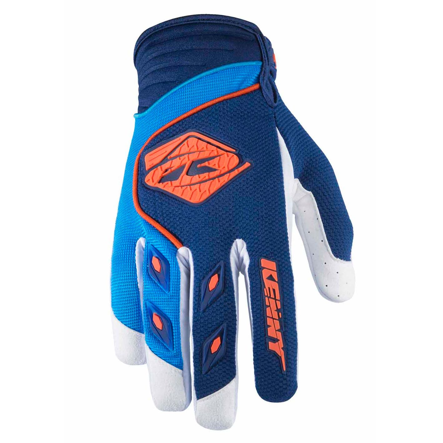 Gants cross Kenny destockage TRACK YOUTH - NAVY / CYAN / ORANGE -
