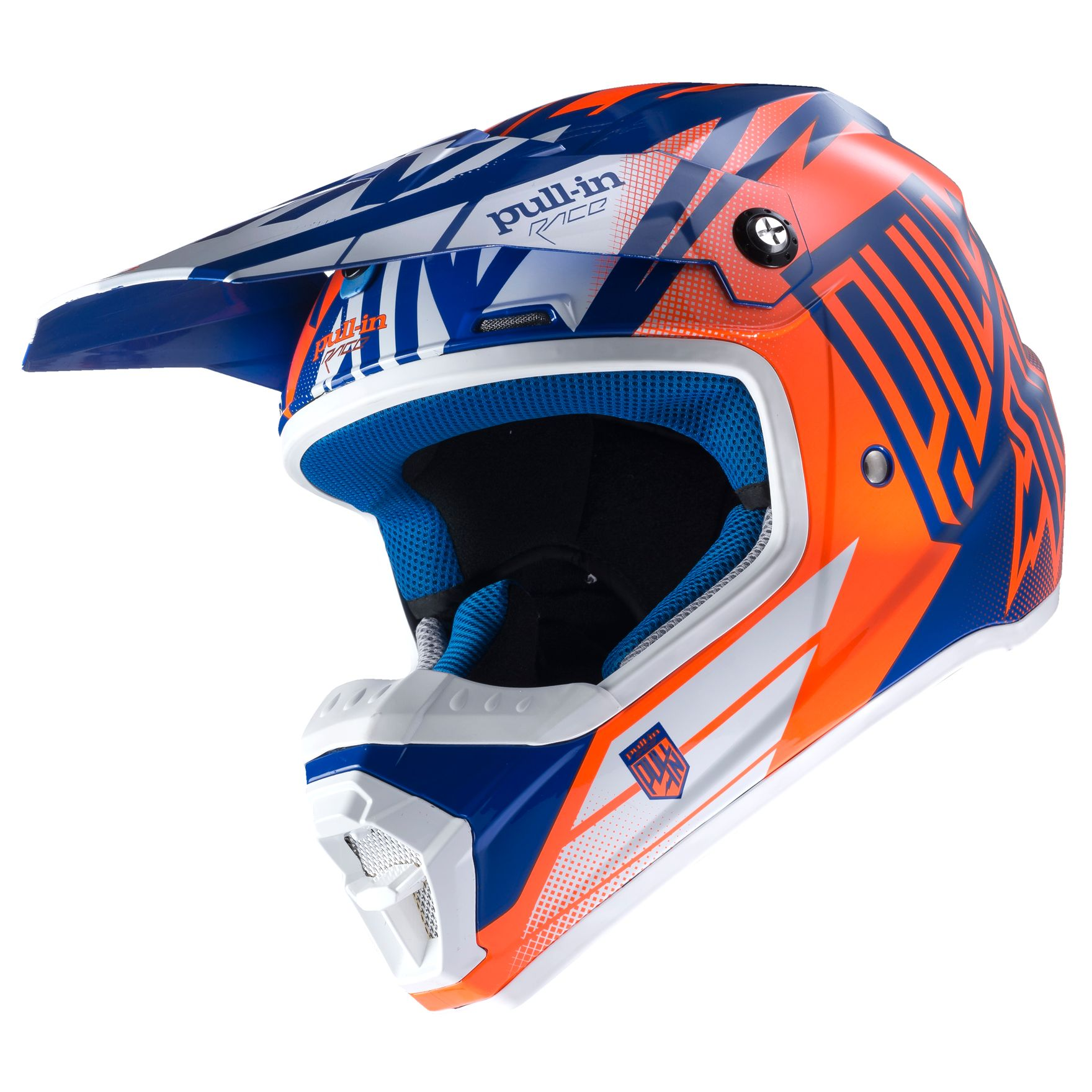 casque cross pull in destockage moto bleu orange fluo 2017 casque cross. Black Bedroom Furniture Sets. Home Design Ideas