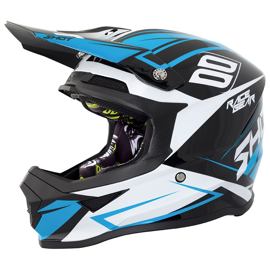 Casque cross Shot destockage FURIOUS ALERT BLACK BLUE GLOSS 2018