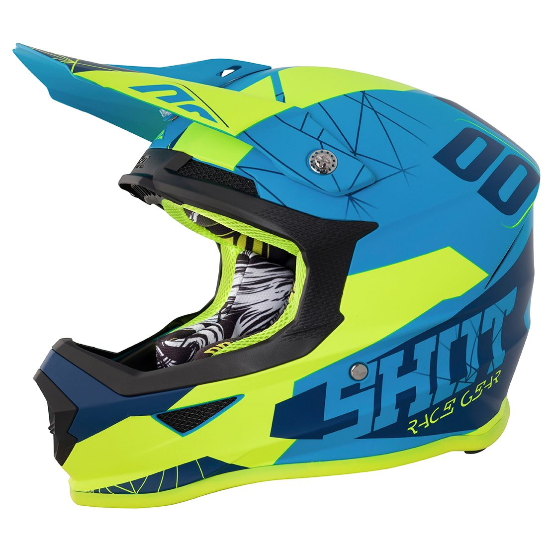 Casque cross Shot destockage FURIOUS SPECTRE - BLUE NEON YELLOW 2018