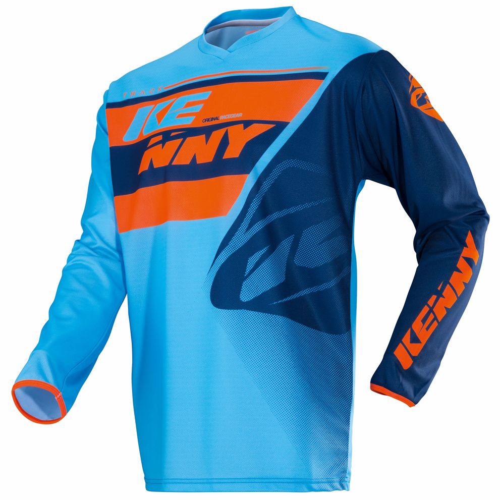 maillot cross kenny kid track bleu orange pilote tout terrain. Black Bedroom Furniture Sets. Home Design Ideas