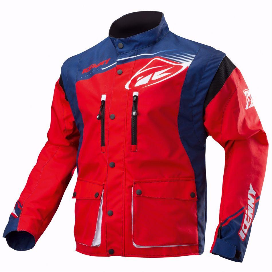 Blouson moto bleu rouge