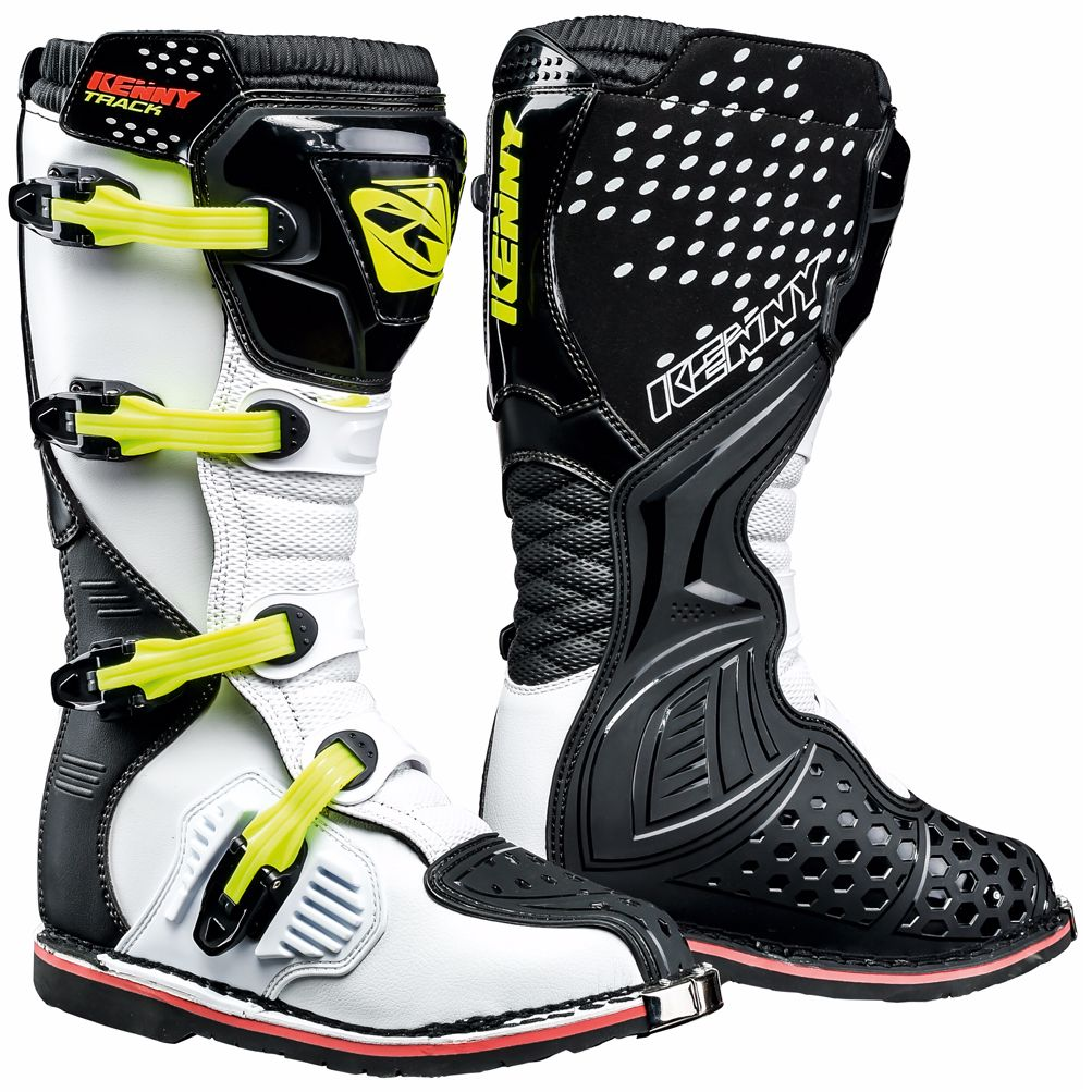 Bottes cross Kenny TRACK - NOIR BLANC JAUNE FLUO 2021