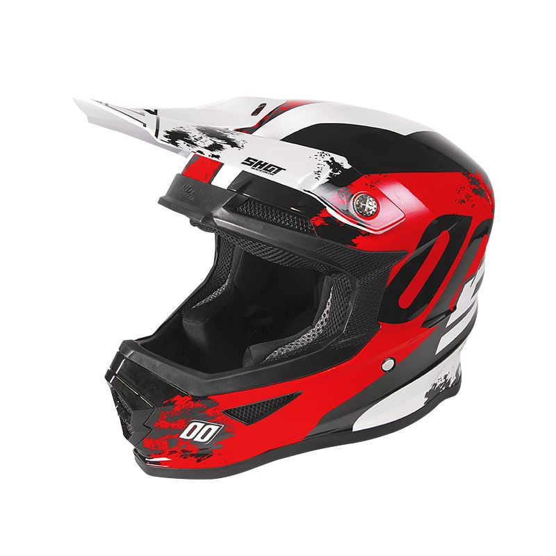 Casque cross Shot FURIOUS - SHADOW - RED WHITE GLOSSY 2020
