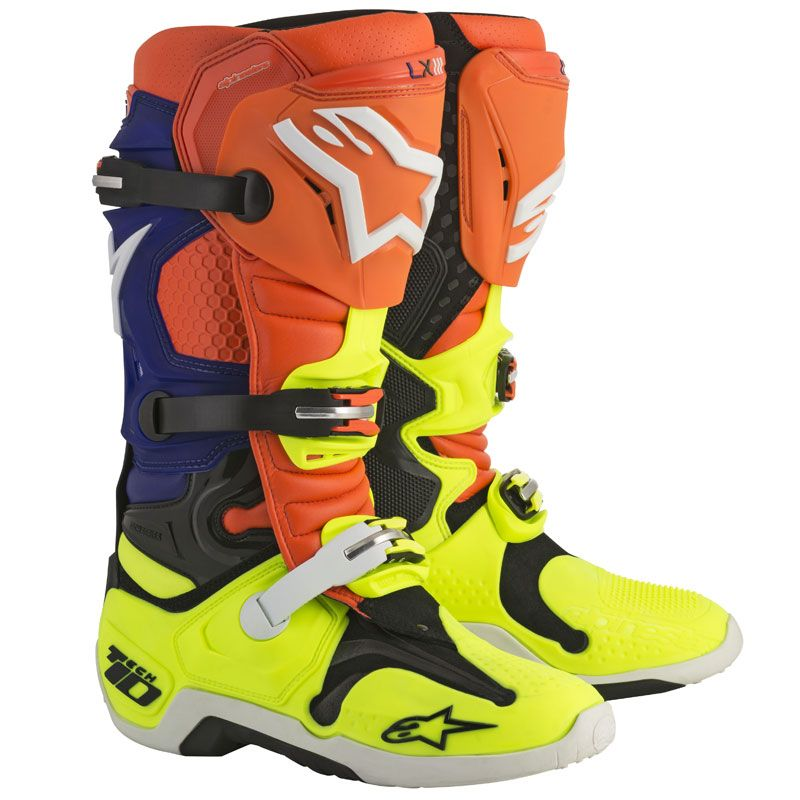 Bottes cross Alpinestars TECH 10 ORANGE FLUO BLUE WHITE YELLOW FLUO  2018