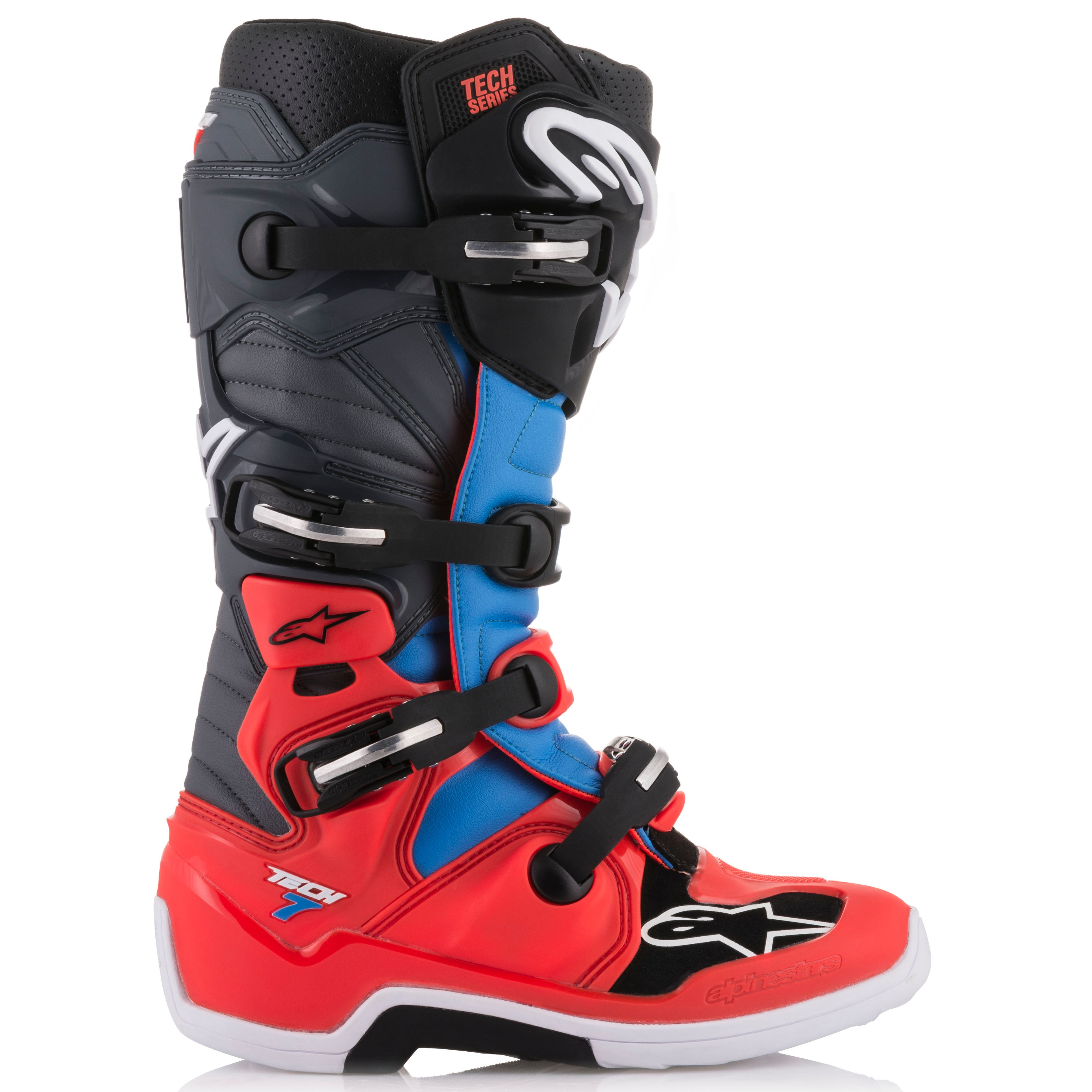 Bottes cross Alpinestars TECH 7 - RED FLUO CYAN GRAY BLACK 2021