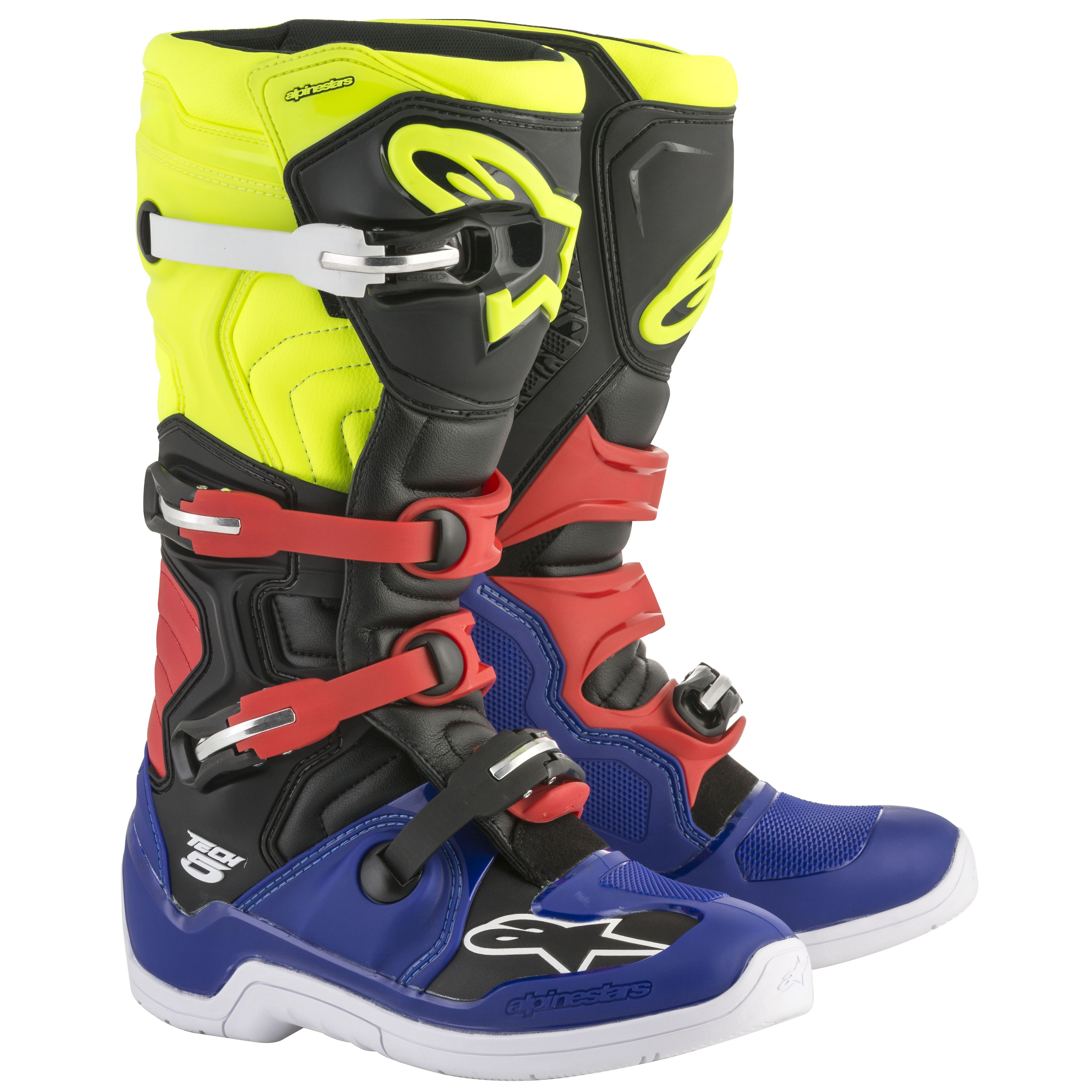 Bottes cross Alpinestars TECH 5 BLUE BLACK YELLOW FLUO RED  2018