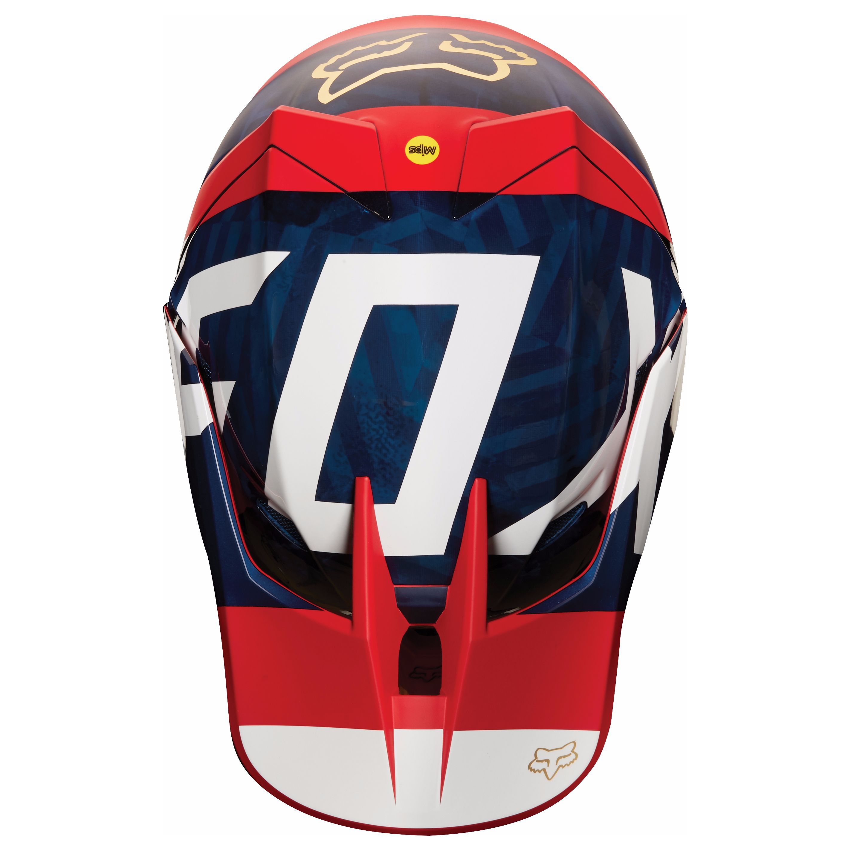 Casque cross Fox V3 PREEST - BLEU MARINE ROUGE (mat/brillant) -  2018
