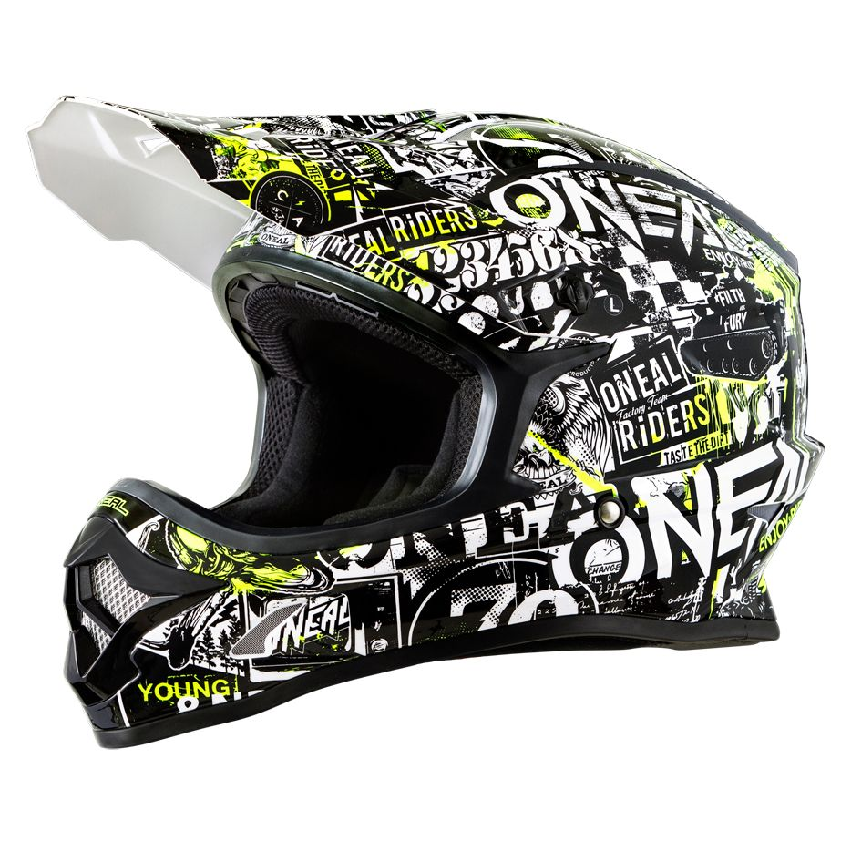 Casque cross O'Neal 3 SERIES YOUTH - ATTACK - BLACK HI-VIZ 2019