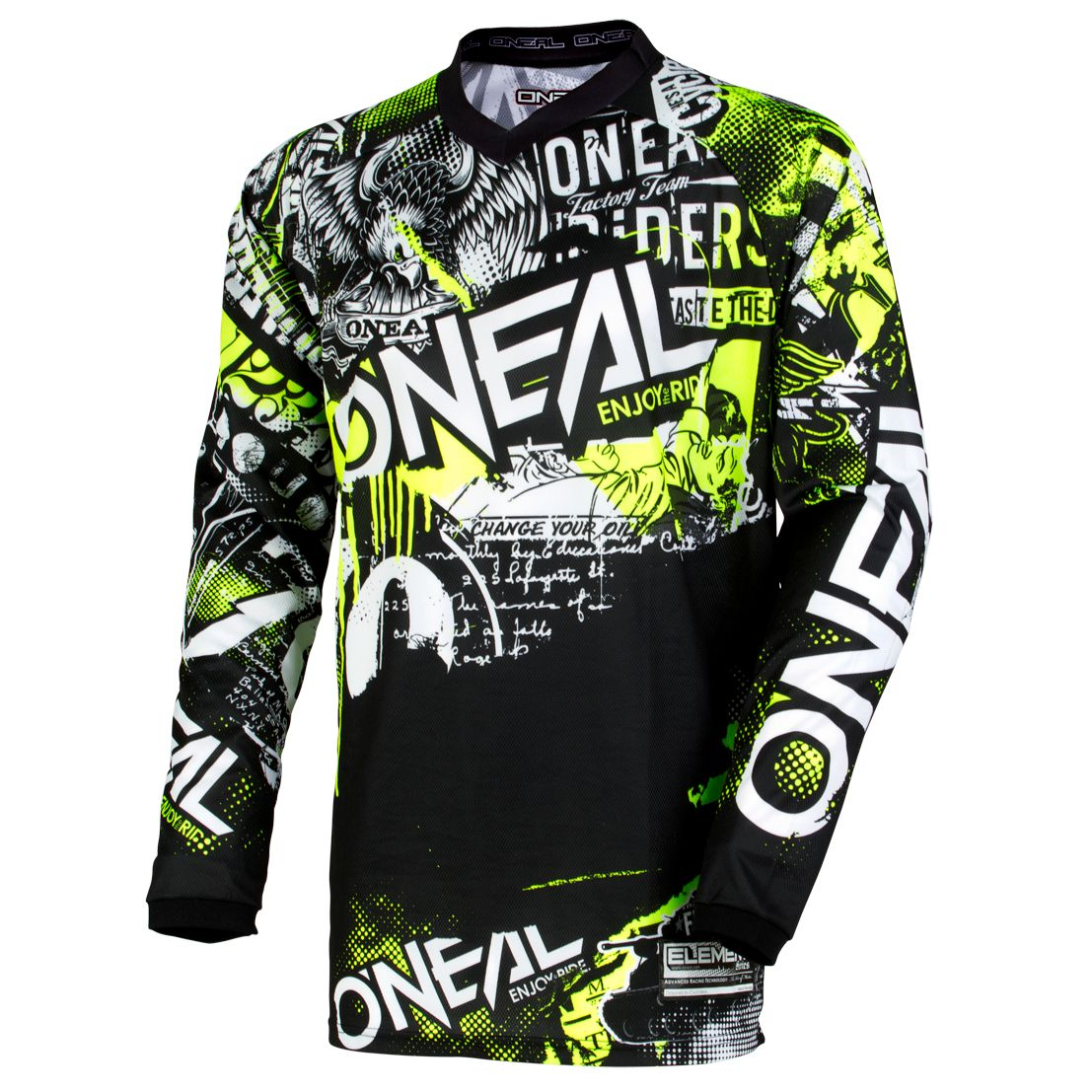 Maillot cross O'Neal ELEMENT YOUTH - ATTACK - BLACK HI-VIS 2019