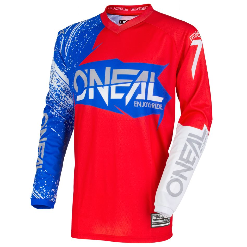 Maillot Cross O'neal Element Burnout - Rouge Blanc Bleu -