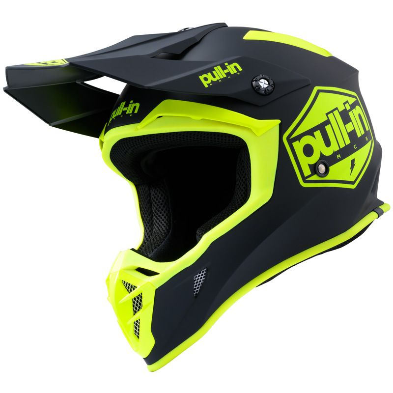 Casque cross Pull-in SOLID BRILLANT BLACK NEON YELLOW ENFANT 2020