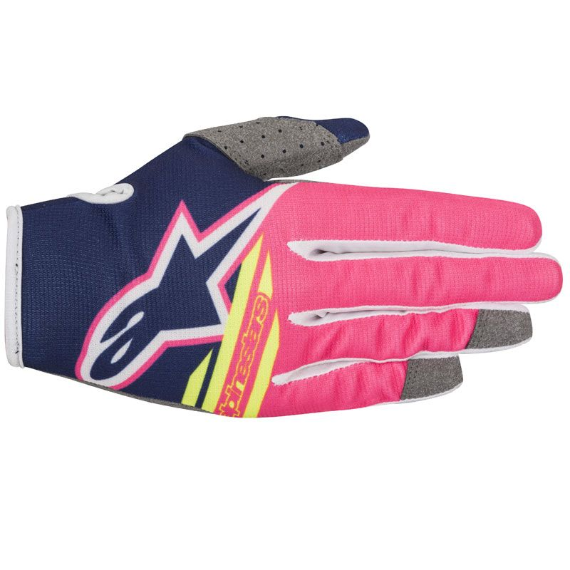 Gants cross Alpinestars RADAR FLIGHT DARK BLUE PINK FLUO WHITE ENFANT  2018