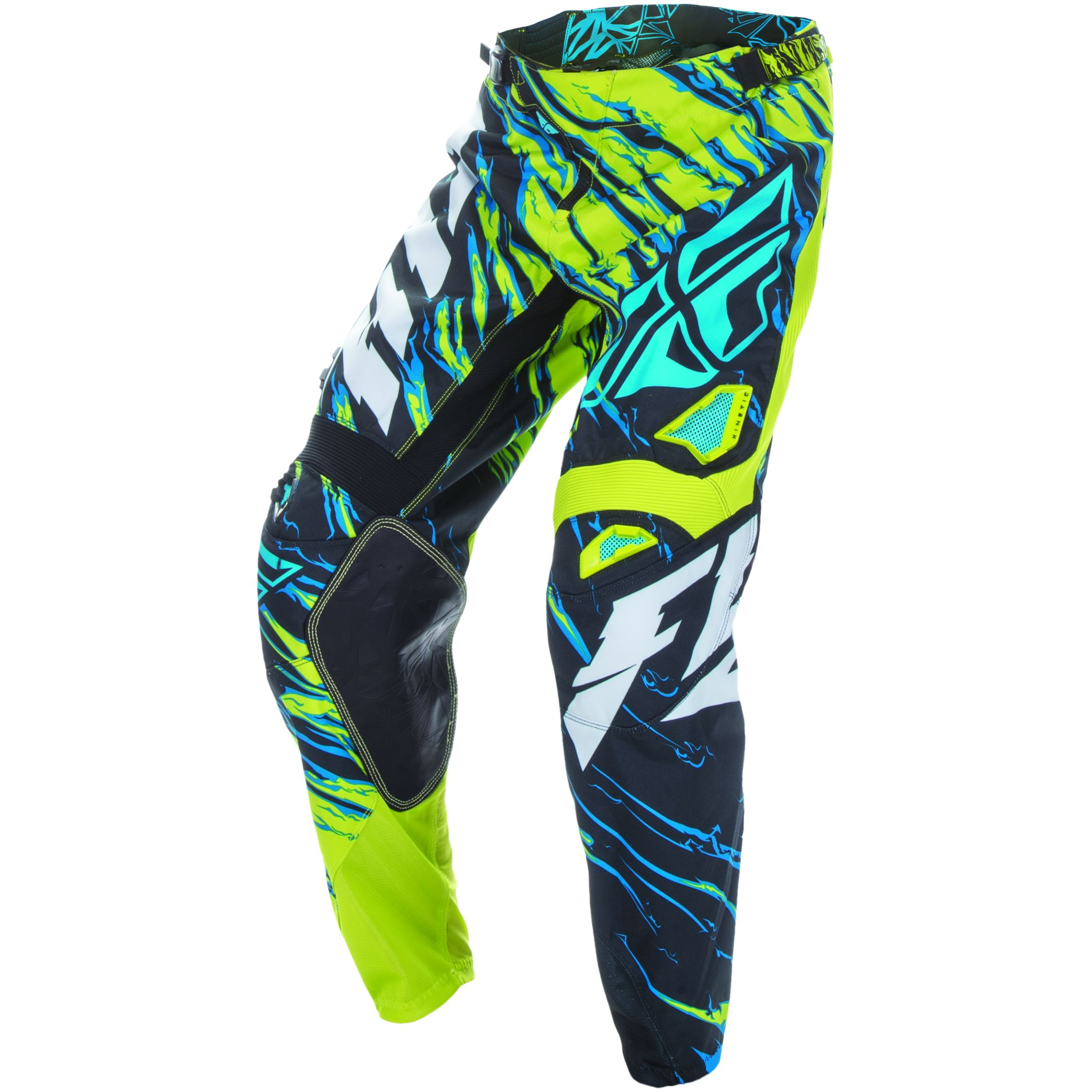 Pantalon cross FLY destockage KINETIC YOUTH RELAPSE - VERT BLEU -