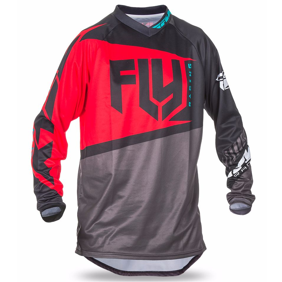 Maillot cross FLY destockage F16 YOUTH - NOIR GRIS ROUGE -
