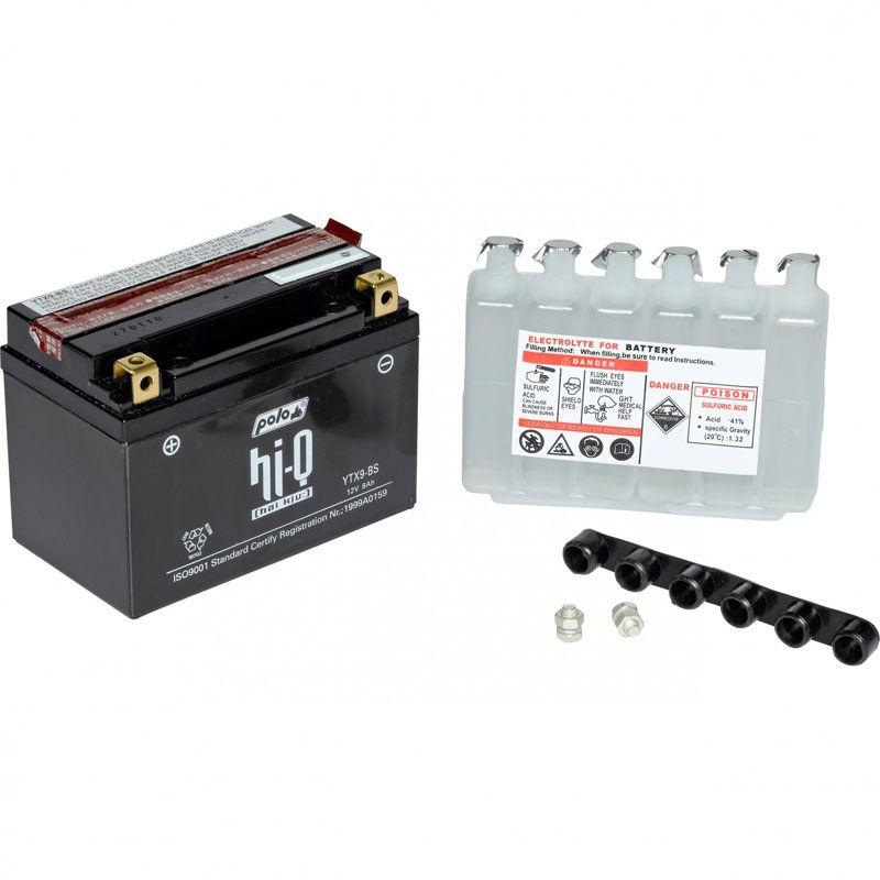 Batterie HI-Q YTX9-BS ouverte Type acide avec pack acide inclus