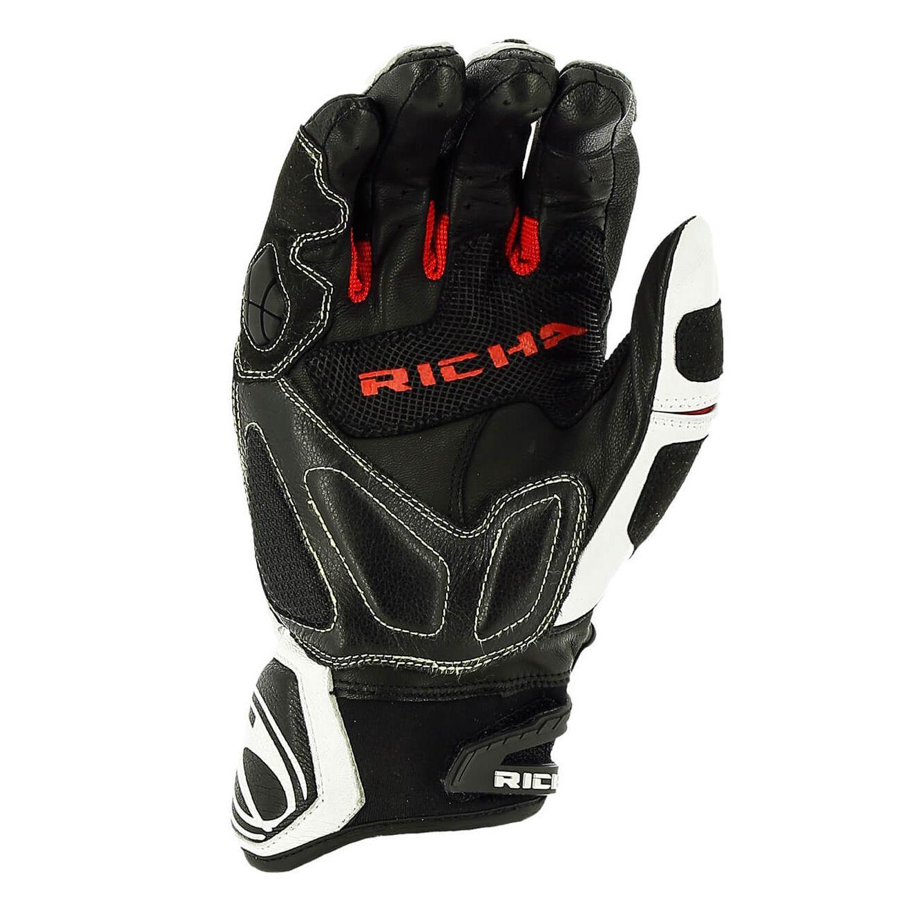 gants richa stealth black white black white red gants moto. Black Bedroom Furniture Sets. Home Design Ideas