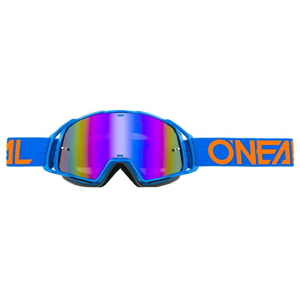 Masque Cross O'neal B-20 - Flat Bleu Orange - Ecran Iridium -