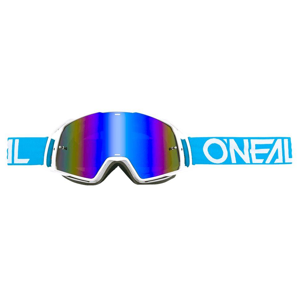 Masque Cross O'neal B-20 - Flat Bleu Blanc - Ecran Iridium -
