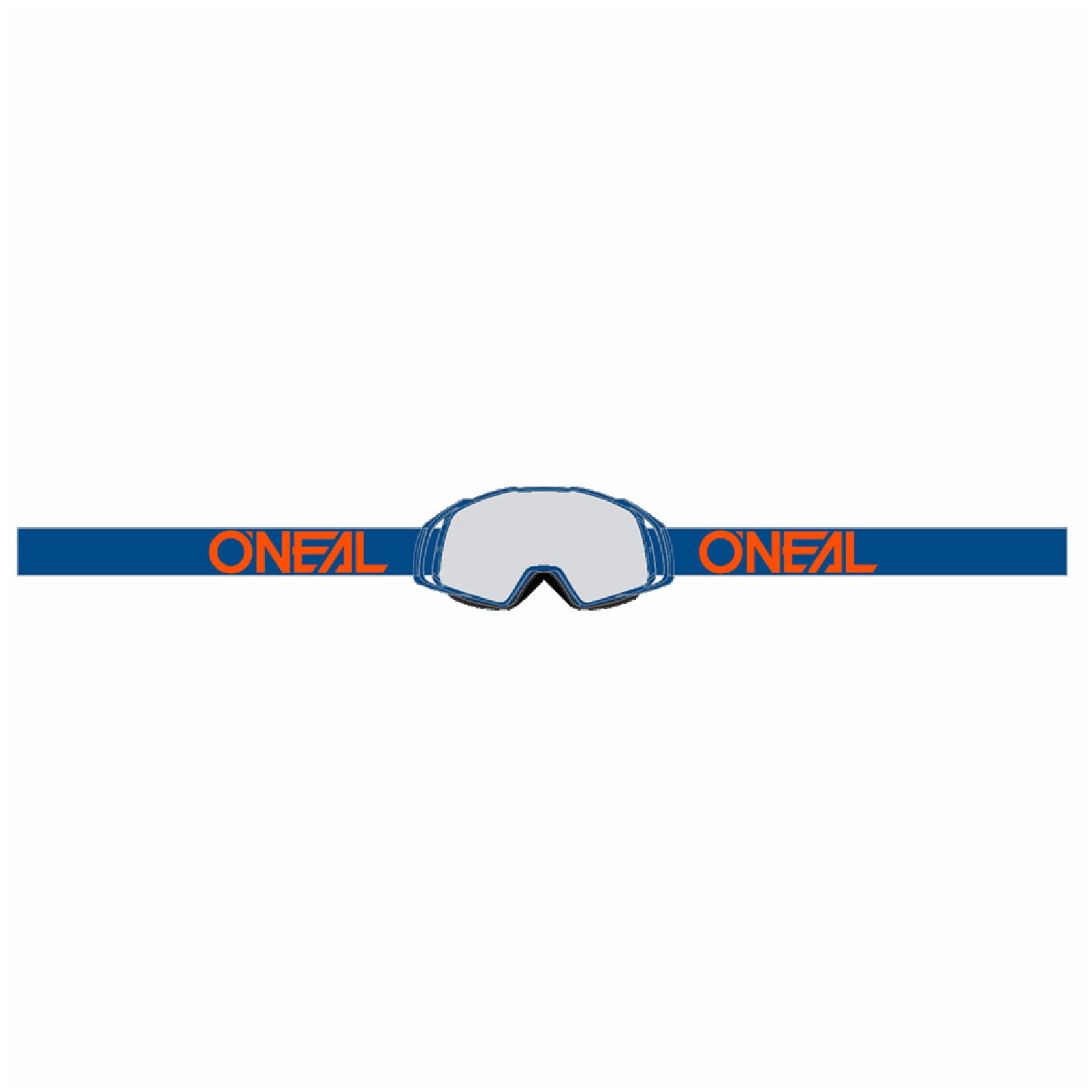 Masque Cross O'neal B-20 - Flat Bleu Orange - Ecran Clair -