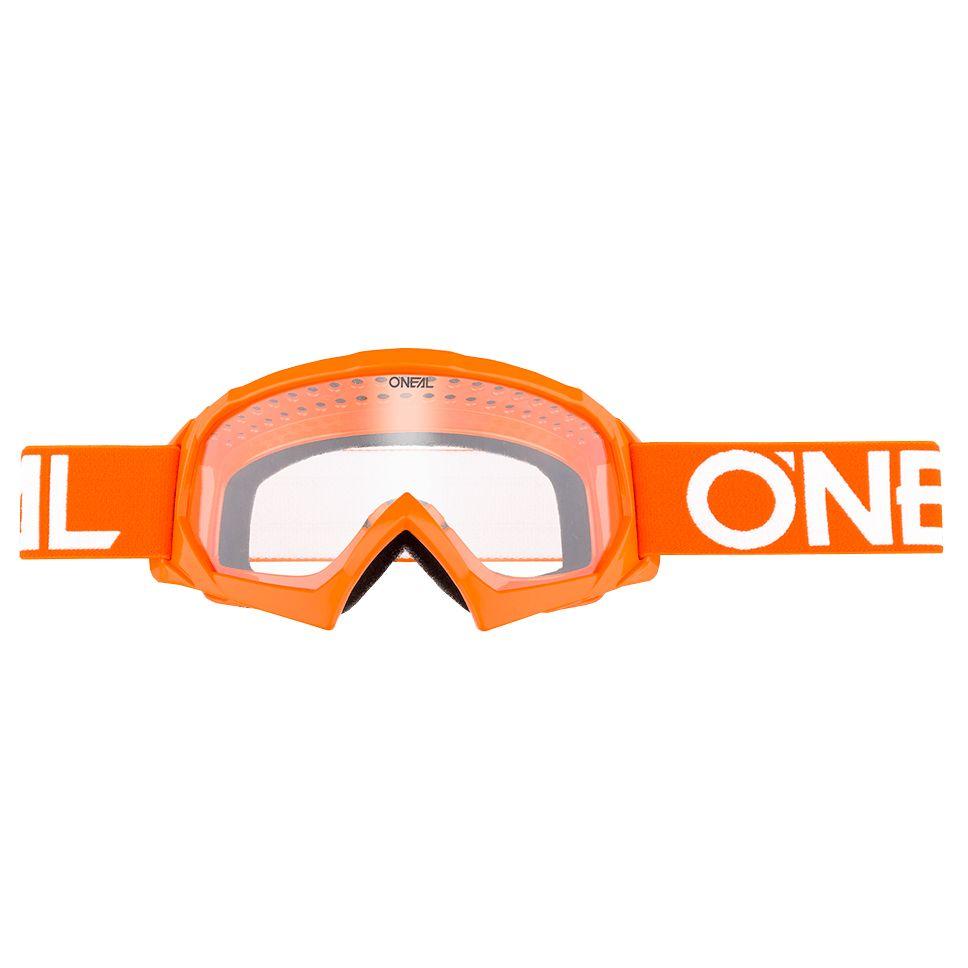 Masque Cross O'neal B-10 Youth - Solid Orange Blanc - Ecran Clair -