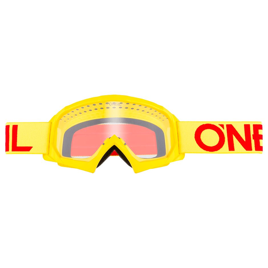 Masque Cross O'neal B-10 Youth - Solid Jaune Fluo Rouge - Ecran Clair -