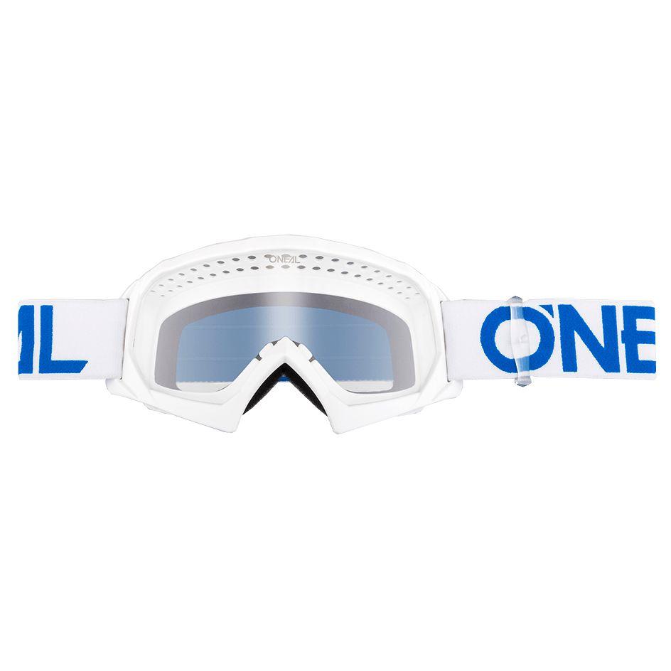 Masque Cross O'neal B-10 Youth - Solid Blanc Bleu - Ecran Clair -