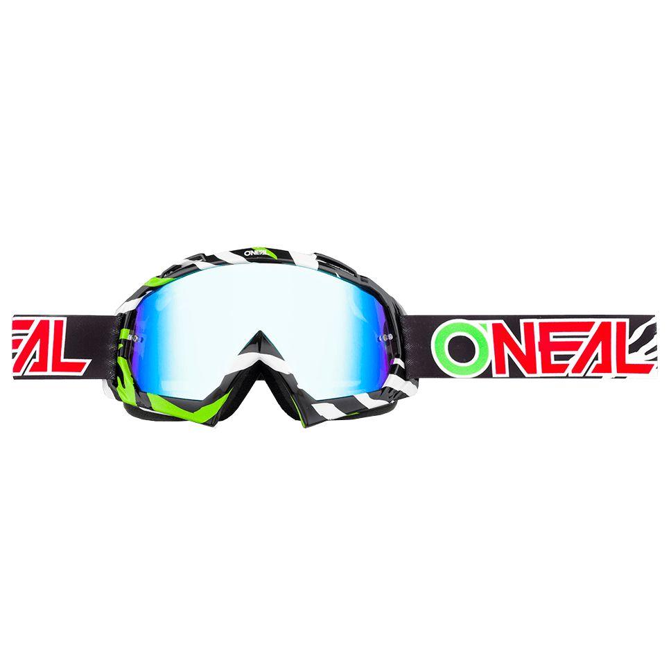 Masque Cross O'neal B-10 - Stream Noir Vert - Ecran Iridium -