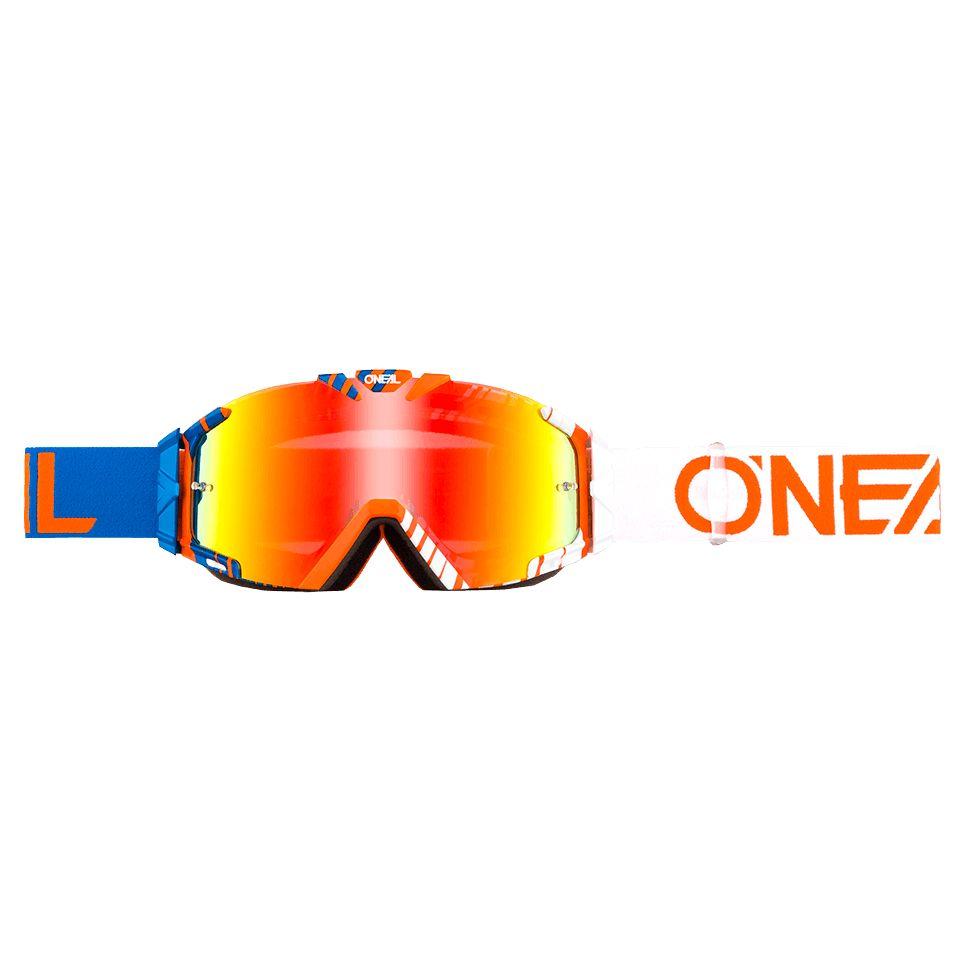 Masque Cross O'neal B-30 - Duplex Blanc Bleu Orange- Ecran Iridium -
