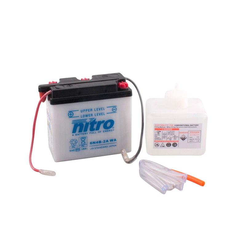 Batterie Nitro 6n4b-2a Ouvert Avec Pack Acide Type Acide