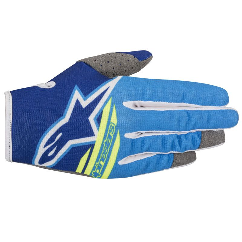 Gants cross Alpinestars RADAR FLIGHT BLUE AQUA YELLOW FLUO  2018