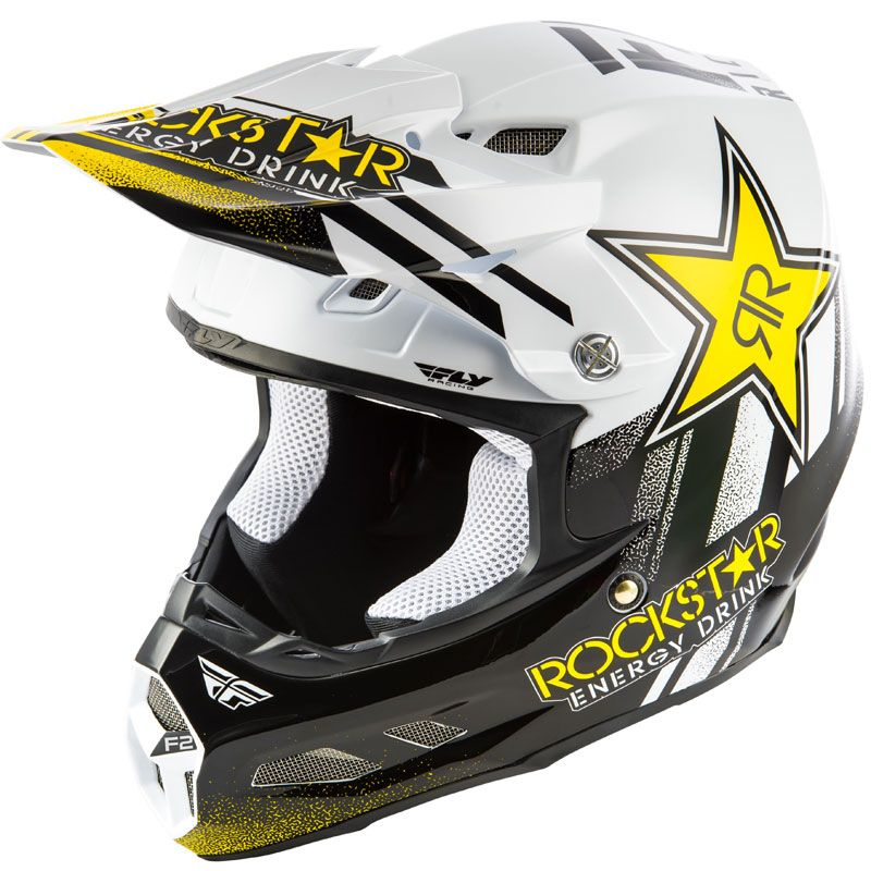 Casque cross Fly F2 CARBON MIPS - ROCKSTAR - BLACK WHITE 2020