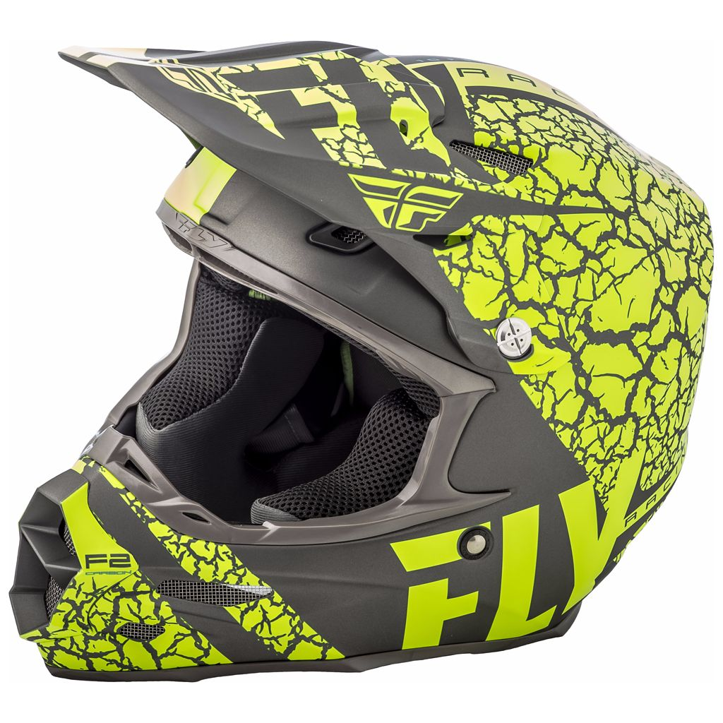 Casque Cross Fly F2 Carbon Fracture - Gris Jaune Fluo -