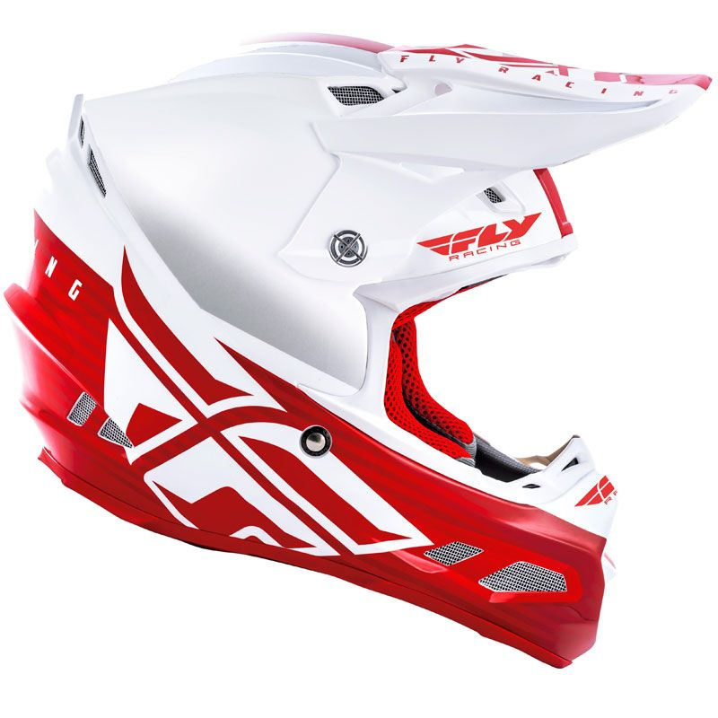 Casque cross Fly F2 CARBON MIPS - SHIELD - WHITE RED 2020
