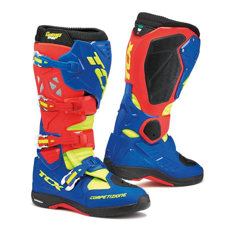 Bottes Cross Tcx Boots Comp Evo Michelin Rouge/bleu/jaune Fluo