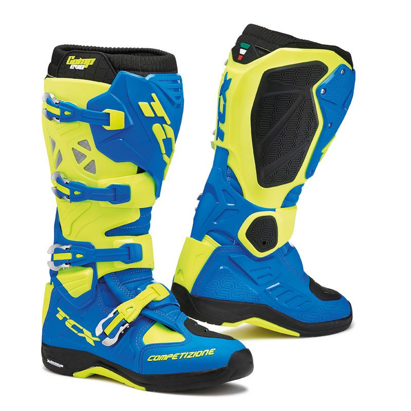Bottes Cross Tcx Boots Comp Evo Michelin Bleu Royale/jaune Fluo Vert