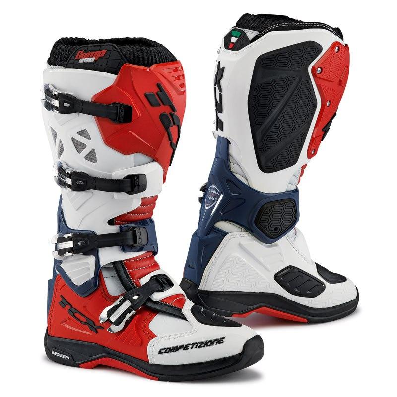 Bottes Cross Tcx Boots Comp Evo Michelin Blanc/rouge/bleu