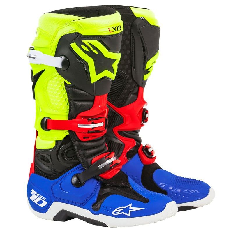 Bottes Cross Alpinestars Tech 10 Black/yellow/blue/red