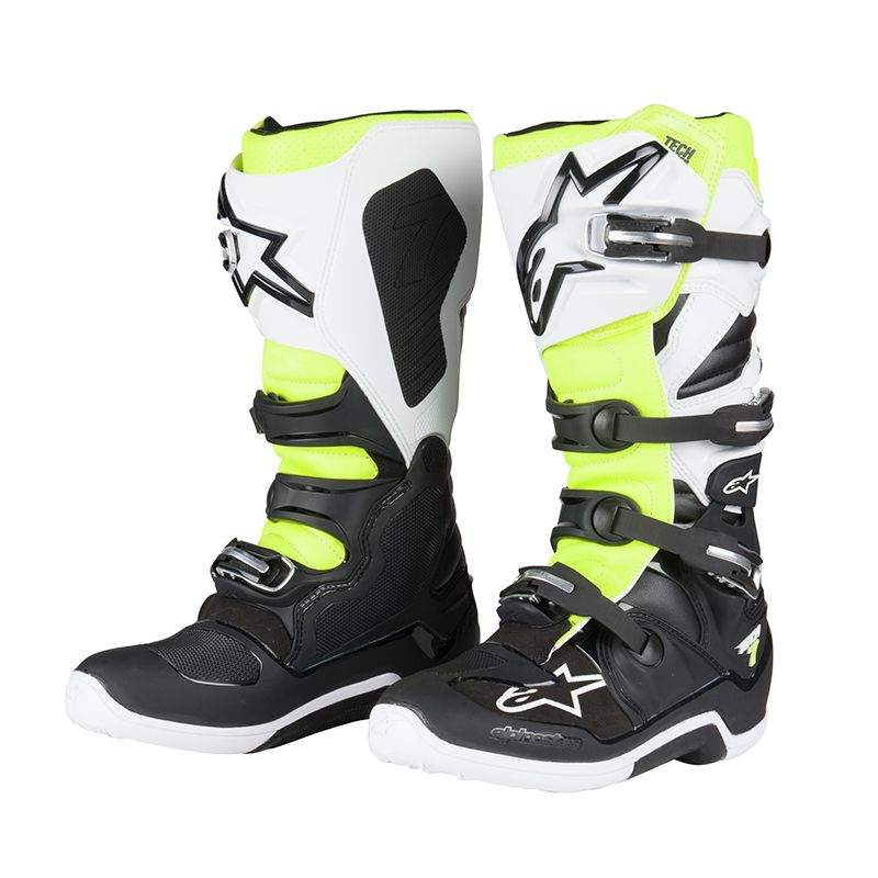 bottes cross alpinestars tech 7 black white yellow fluo 2018 bottes cross. Black Bedroom Furniture Sets. Home Design Ideas